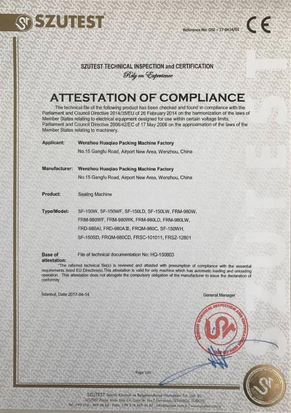 sealing machine CE certificate